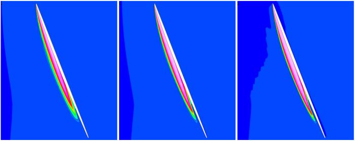 Propeller - contour of vapour volume fraction near blade tip