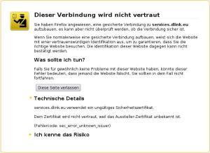 D-Link Support ohne gültiges Zertifikat!