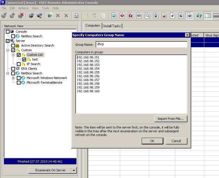 ESET Remote Administrator Console – manuelle IP-Adresseingabe für Ferninstallation