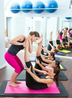 Group training pilates class