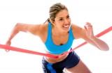Athletic female winning race