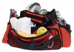 gym bag with towel, shoes, and gloves