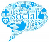 Social media in communication bubble with buzz words