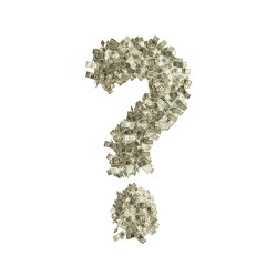 Question mark made out of money