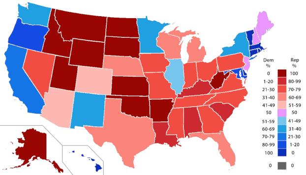 Répartition politique des représentants, État par État. - document Orser67, CC-BY-SA