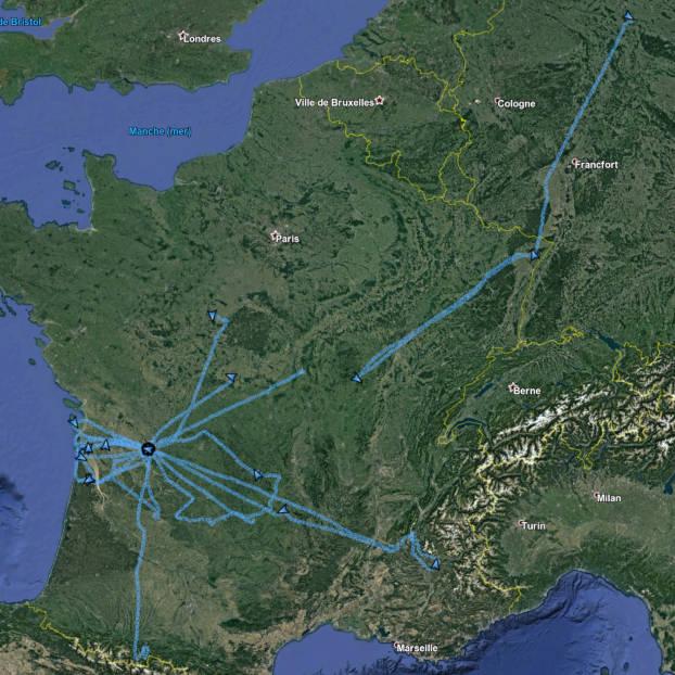 Capture Google Earth des trajets effectués