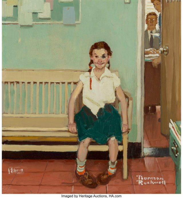 Norman Rockwell (American, 1894-1978). Girl with Black Eye (The Shiner), The Saturday Evening Post cover study