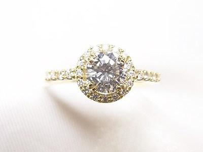 k18イエローゴールド製のかわいいキラキラダイヤモンドエンゲージリングへリフォーム【神戸 元町】