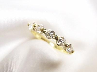 古いデザインの一文字リング、ダイヤペンダントをかわいいK18にリフォーム【神戸 元町】