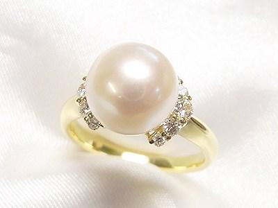 9mmUPアコヤ真珠をK18製かわいいキラキラリングへリフォーム【神戸 元町】