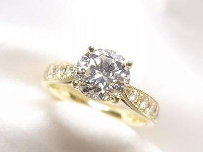 1ctダイヤモンドをK18ミル打ちアンティーク風リングへリフォーム【神戸 元町】