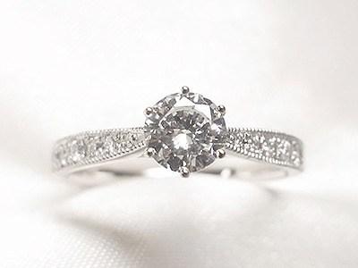 0.4ctUPダイヤを6点留めミル打ちのご婚約指輪へリフォーム【神戸 元町】