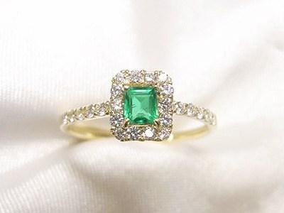 エメラルドをメレダイヤ取り巻きの特別かわいいリングへリフォーム【神戸 元町】