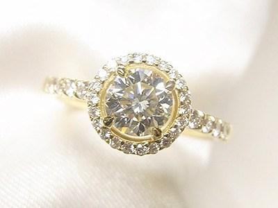 0.6ctUPダイヤモンドをK18イエローゴールド製メレダイヤ取巻きリングへリフォーム【神戸 元町】