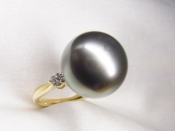 1ctダイヤモンドと15mmUP黒蝶真珠をK18製の素敵リングへリフォーム【神戸 元町】
