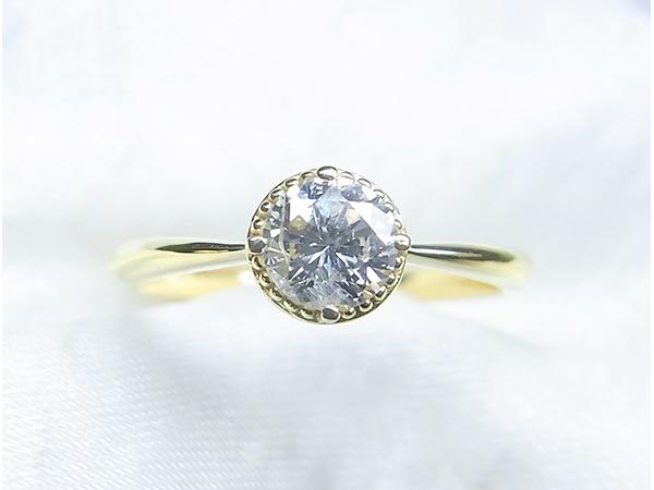 シンプルなミル打ちダイヤモンドリングへのリフォーム【神戸 元町】