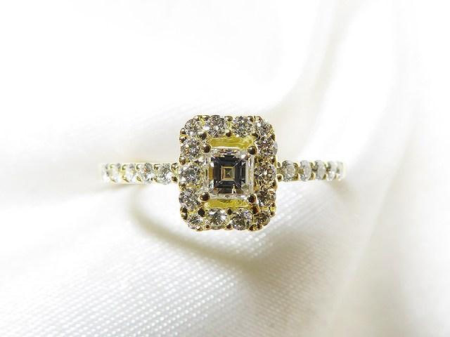 スクエアカットのダイヤをK18の素敵なリングへリフォーム