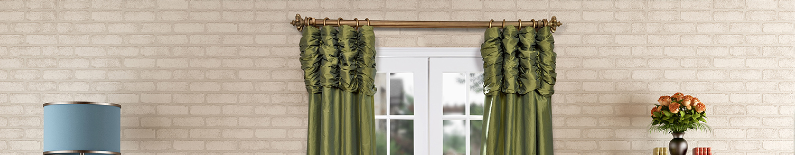 Ruched-Faux-Silk-Taffeta-Curtains