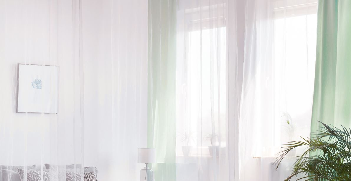 sheer curtains over bright window