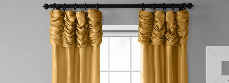 Ruched Thai Silk Curtains with French Pleat