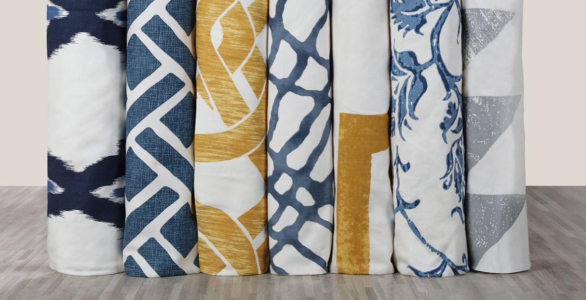 Blue and yellow patterned curtains