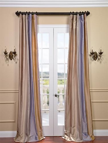 Use a designer silk stripe as a shower curtain