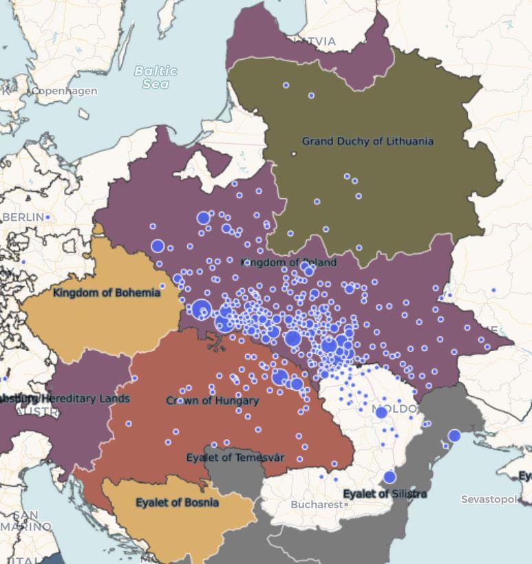 Maharsham's responsa overlaid on European internal borders in 1700