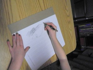 Sandpaper provides tactile input to help with pencil pressure!