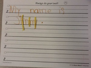 """"""" I wrote my name and then checked it with spaghetti.  The spaghetti was covering some of my y.  I forgot to leave enough space."""""""
