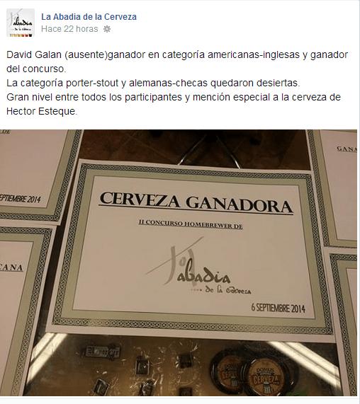 Publicación Premio Abadia Cerveza
