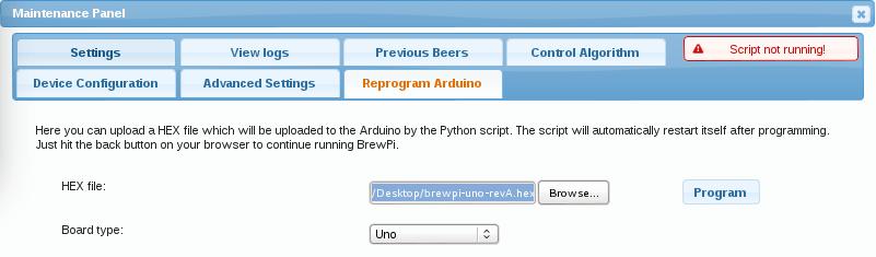 Reprogram Arduino - Brewpi