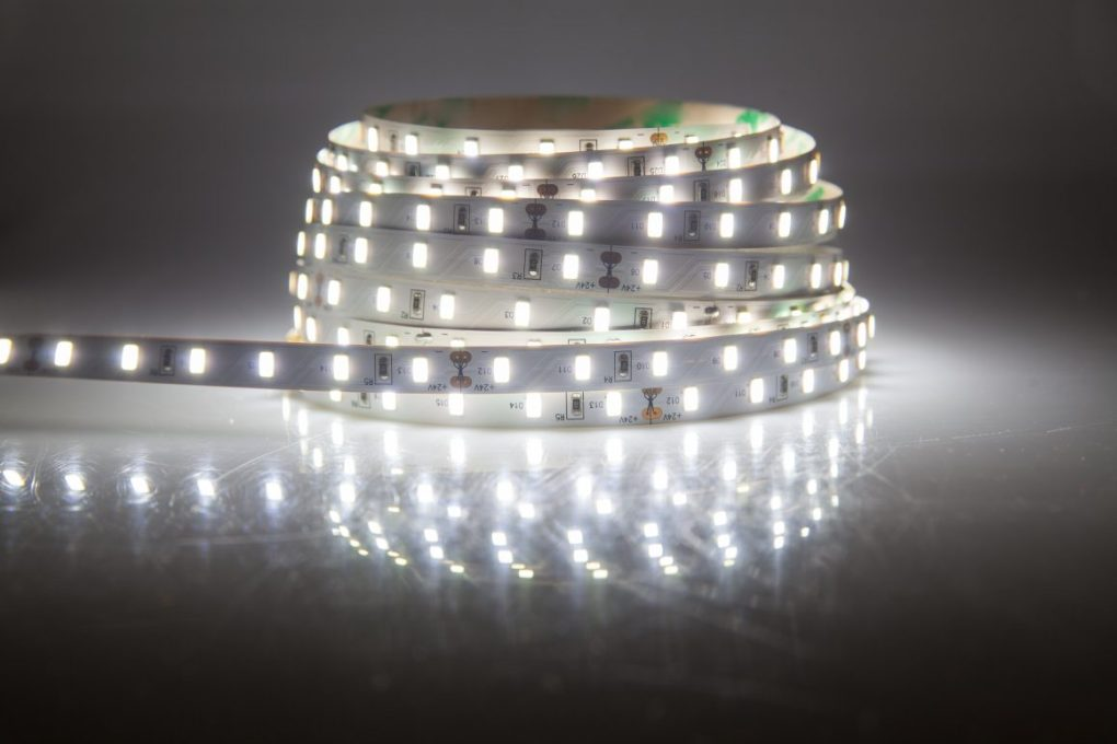 LED strip turned on and arranged in coil