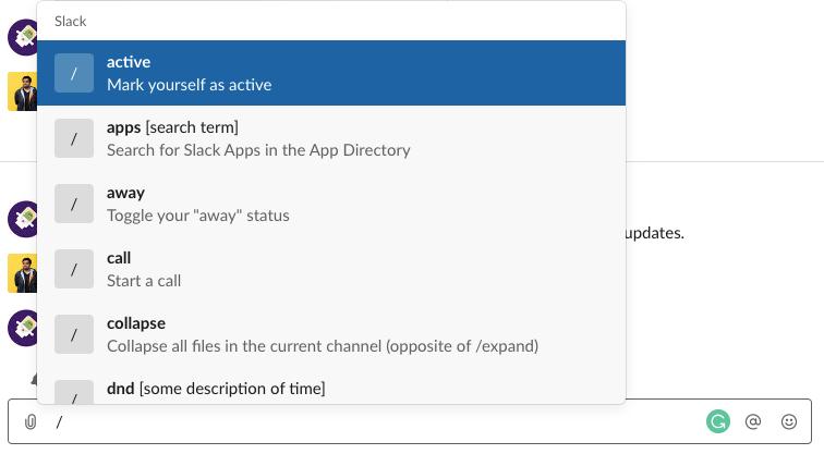 Quick Commands in Slack