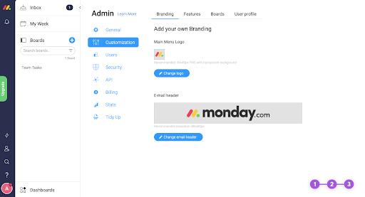 Custom Branding options in Monday.com
