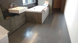 Bathroom in Rubber Dimples Fossil Grey (Fitted by Long Lane Flooring)