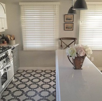 Carey's kitchen in Parquet Charcoal by Neisha Crosland