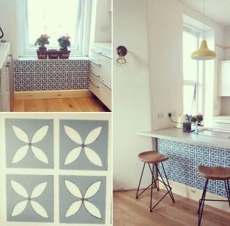 Andrea's kitchen in Lattice Cornflower Blue by Dee Hardwicke