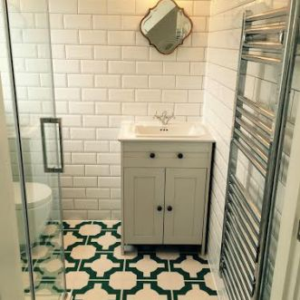 Kate's bathroom in Parquet Turquoise by Neisha Crosland