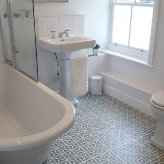 Sally's bathroom in Lattice Pear Tree Green by Dee Hardwicke