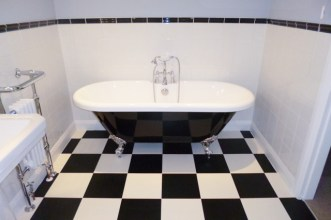 Sharon's bathroom in Colours Collection Jet Black & Latte White