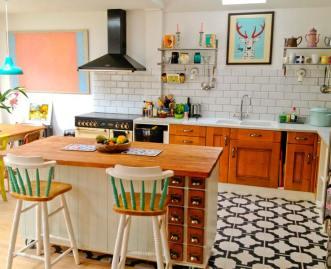 Gigi's kitchen in Parquet Charcoal by Neisha Crosland