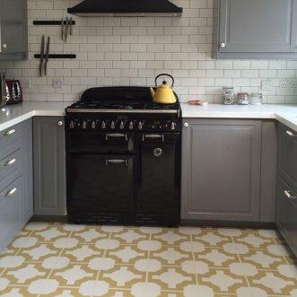 Gold coloured kitchen floor