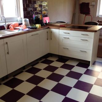 Laura's kitchen in Colours Collection Plum & Latte White