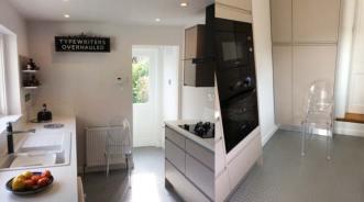 Silver treadplate vinyl flooring in kitchen