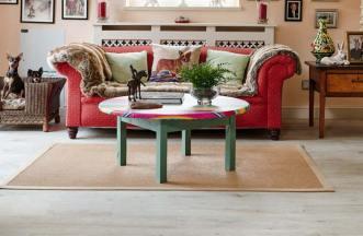 White wood effect flooring in living room