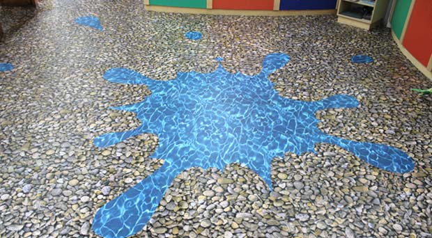 water and pebbles flooring