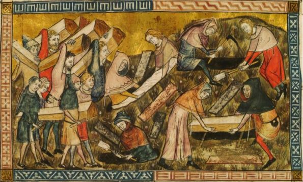 Miniature by Pierart dou Tielt illustrating the Tractatus quartus bu Gilles li Muisit (Tournai, c. 1353). The people of Tournai bury victims of the Black Death. Wikimedia Commons
