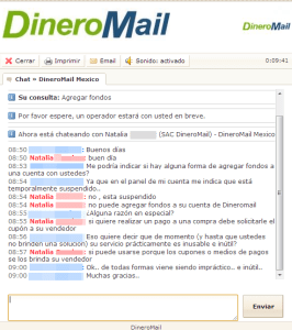 Chat DineroMail Fail
