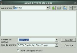 Puttygen save key