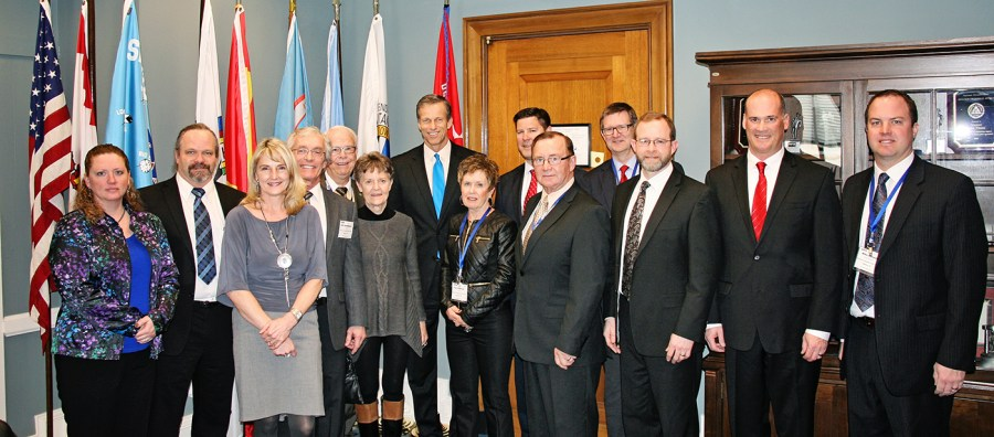 After meeting with members of Heartland's board and staff in March of 2014, U.S. Senator John Thune (R-SD) signed on as a co-sponsor of the Public Power Risk Management Act. Senator Thune is in the center in a blue tie.